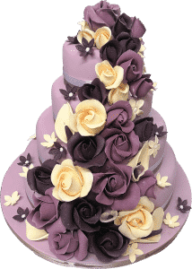 Tiered purple wedding cake